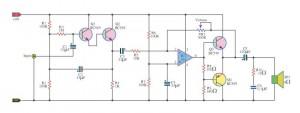 Rangkaian Amplifier Mini-Mini High Impedance Amplifier